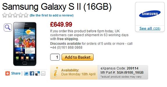 Samsung Galaxy S II - cena