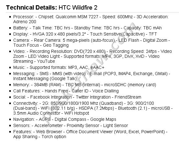 htcwild2-specs