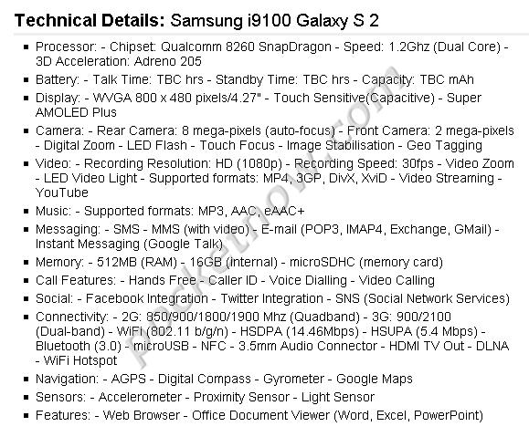 Samsung S 2 - specyfikacja