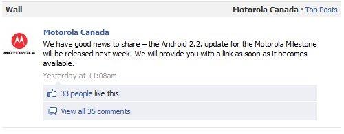 Motorola Milestone - update