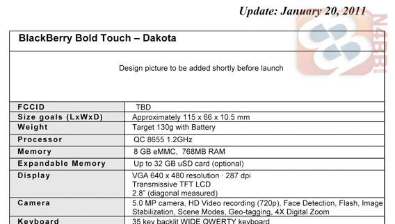 Blackberry Bold Touch - specyfikacja