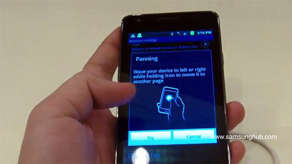Samsung Galaxy S II - żyroskop