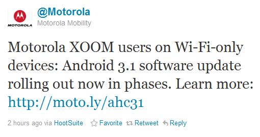 Motorola XOOM - Android 3.1 - aktualizacja