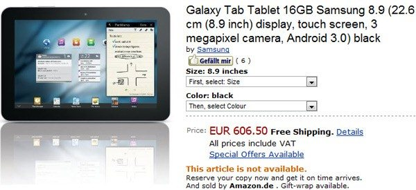 Samsung Galaxy Tab 8.9 - amazon.de