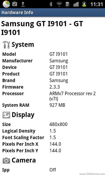 Samsung Galaxy S II I9101 - specyfikacja
