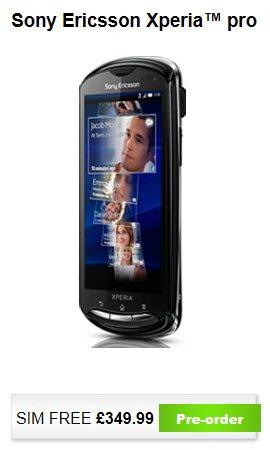 Sony Ericsson Xperia Pro - UK