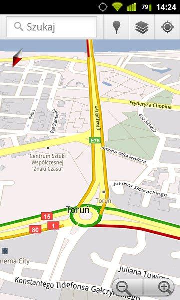 Google Maps - natężenie ruchu w Polsce