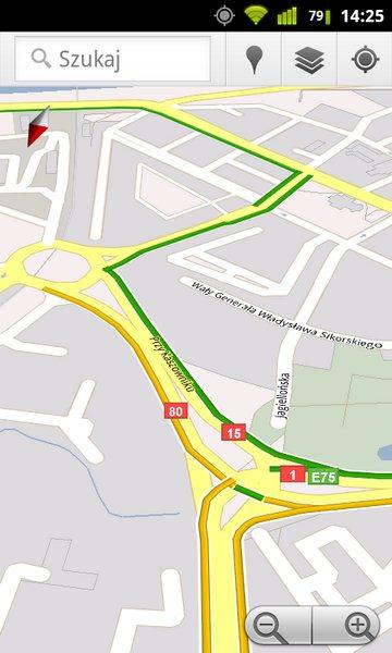 Google Maps - natężenie ruchu