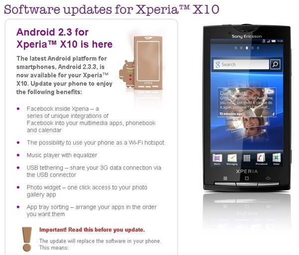 Sony Ericsson Xperia X10 - Gingerbread