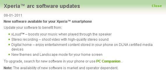 Sony Ericsson Xperia Arc - aktualizacja