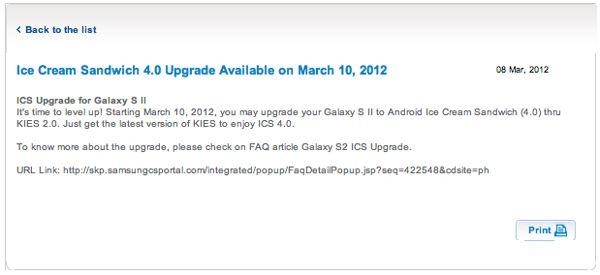 Samsung Galaxy S II - ICS oficjalne powiadomienie