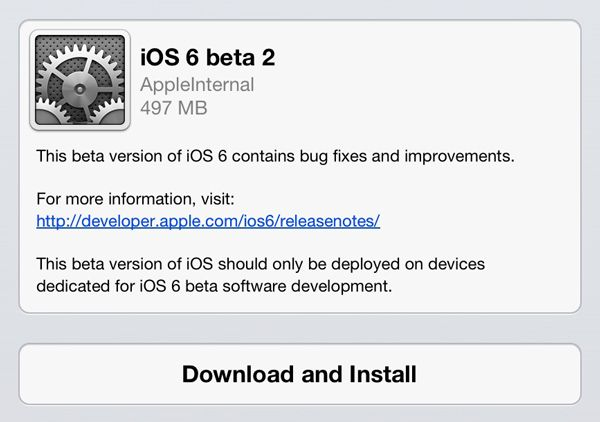 Apple ios 6.0 beta 2