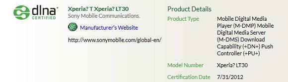 Sony LT30i Mint - certyfikat dlna