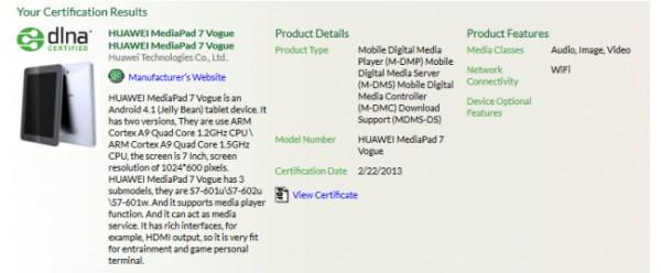 Huawei MediaPad 7 Vogue - specyfikacja