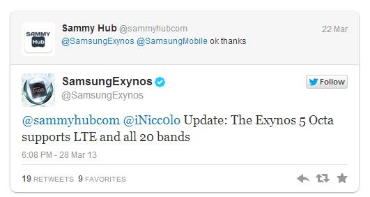Samsung Exynos 5 Octa - potwierdzenie LTE na Twitterze