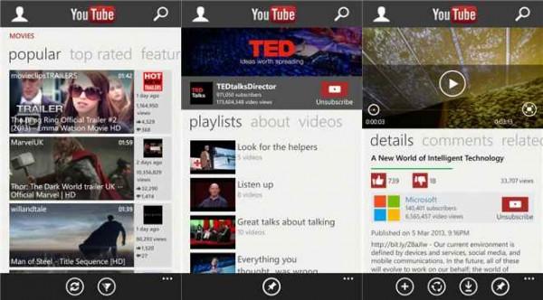 Microsoft YouTube Windows Phone