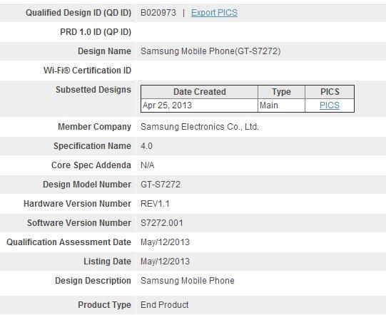 Samsung Galaxy Ace 3 - Bluetooth SIG