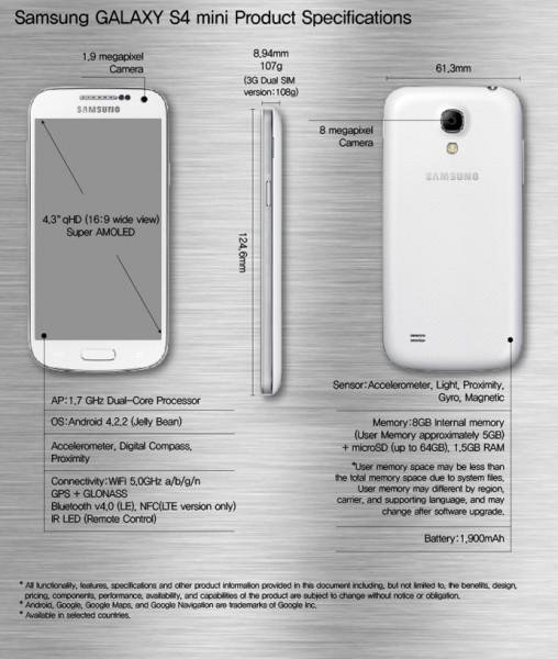 Samsung Galaxy S4 mini - specyfikacja