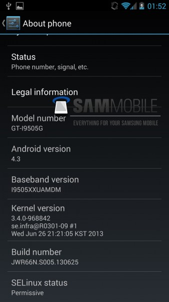 Android 4.3 Jelly Bean - About