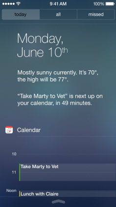 Apple iOS 7 - centrum powiadomień