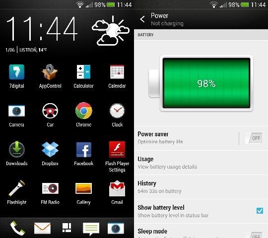HTC One - Android 4.2.2 - procentowy wskaźnik naładowania