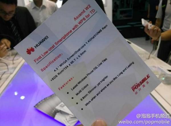 Huawei Ascend W2 - specyfikacja