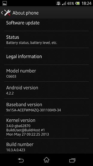 Sony Xperia Z - Android 4.2.2