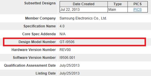 Samsung Galaxy S4 I9506 - Bluetooth SIG