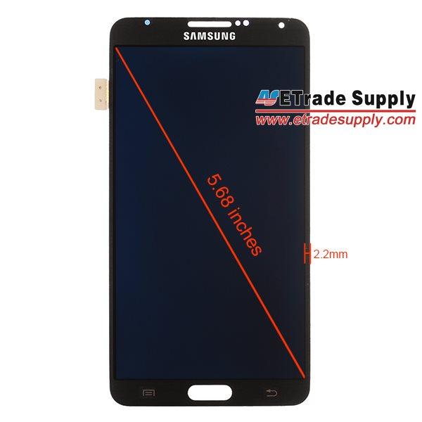 Samsung Galaxy Note III - przedni panel z wymiarami