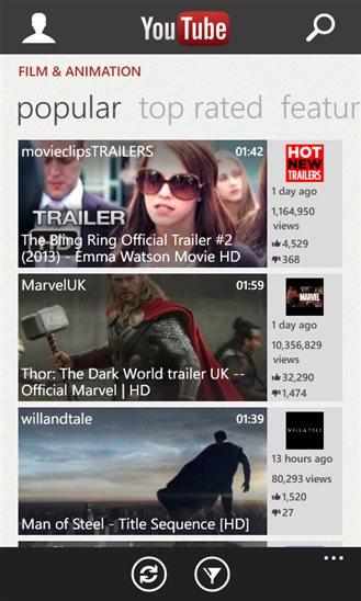 YouTube na Windows Phone