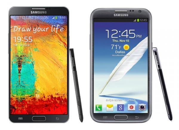 Samsung Galaxy Note III obok Note II - nieoficjalny render