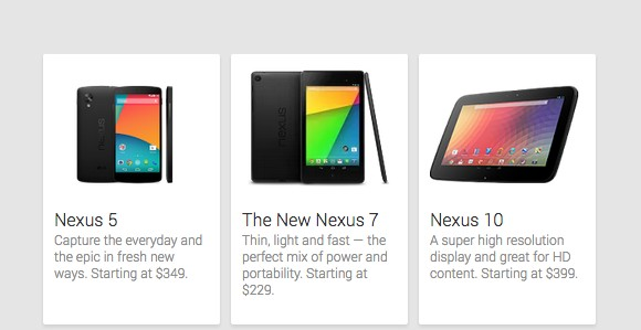 LG Nexus 5 na stronach Google Play