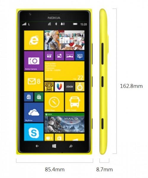 Nokia Lumia 1520 - wymiary