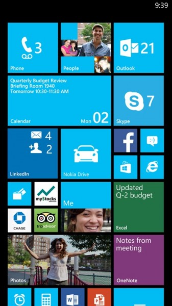 Windows Phone - GDR3, ekran główny