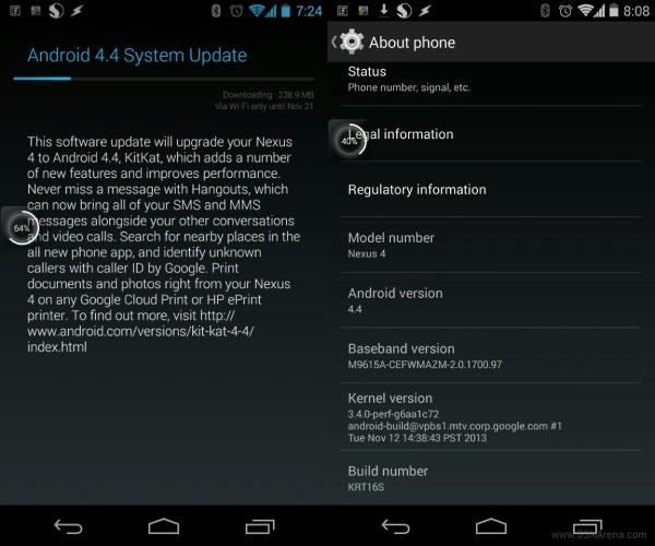 LG Nexus 4 - Android 4.4 KitKat, aktualizacja
