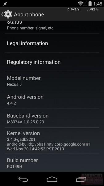 Android 4.4.2 KitKat - informacje systemu