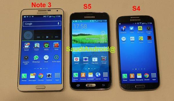 Samsung Galaxy S5 - przeciek, obok Note 3 i S4