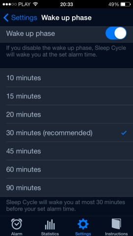 Sleep Cycle - ustawianie czasu