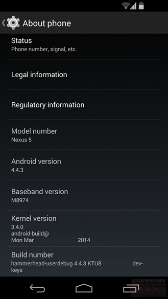 Android 4.4.3 KitKat - about