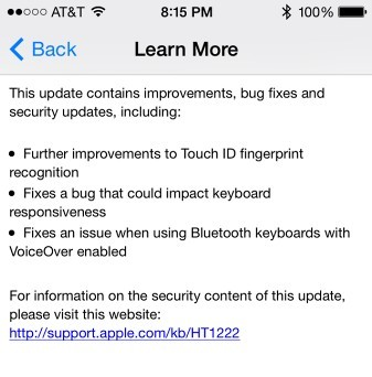 Apple iOS 7.1.1 - changelist
