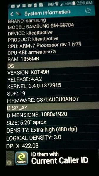 Samsung Galaxy S5 Active - dane systemowe