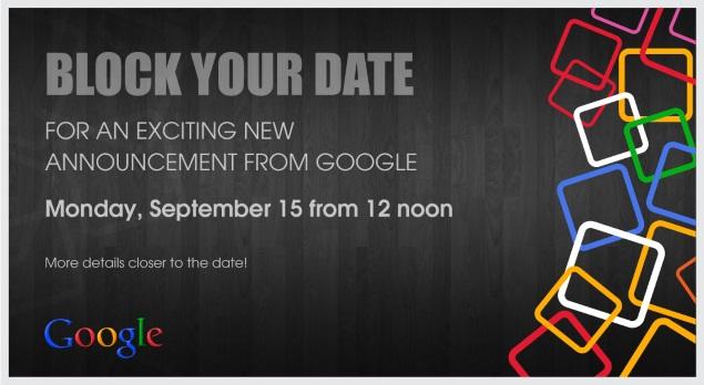 Google - zaproszenie na 15 września 2014
