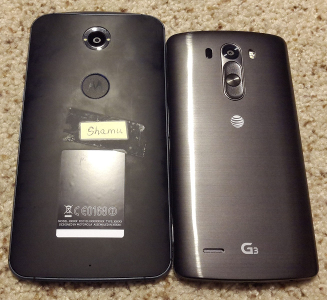 Motorola Nexus 6 (Shamu) obok LG G3