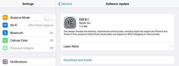 Apple iOS 8.1 - pobieranie