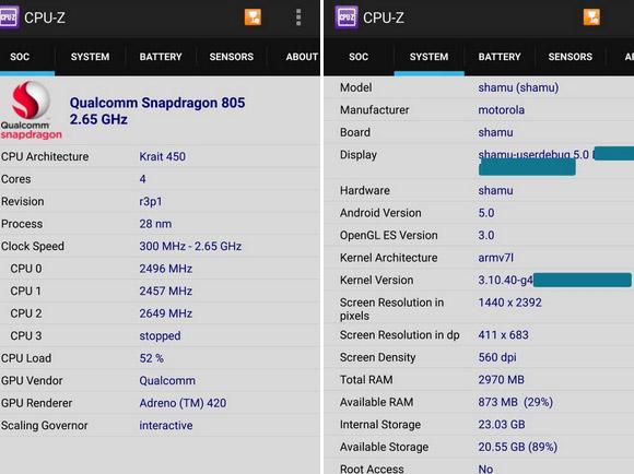 Motorola Nexus 6 - CPU-Z